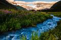 Clouds, Colorado, Ice Lake Basin, Mountains, Stream, Sunset, Water, Wildflowers