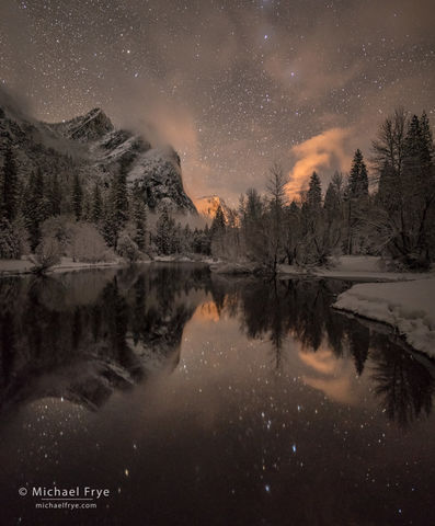 California, Merced River, National Park, Sierra Nevada, Three Brothers, USA, Yosemite NP, night, night photography, river, snow, stars, water, winter