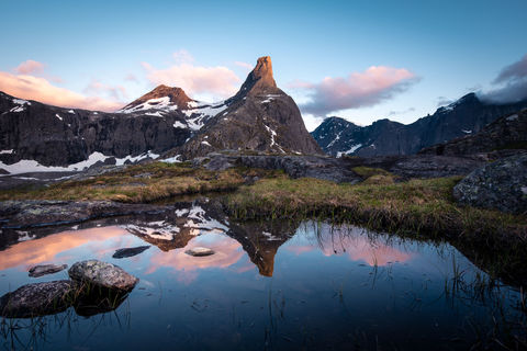 2019, Andalsnes, Norway, Romdalshorn, Sunrise, Trollvegen, moutnains, refelctions, sunset
