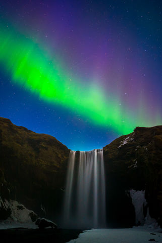 Aurora, Europe, Iceland, Long Exposure, Night Photography, Northern Lights, Skogafoss