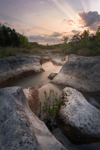 creek, sunrise