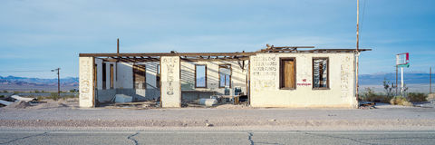 Abandoned, California, Desert, Fall, Kodak Portra 160, Mojave Desert, Panorama, Panoramic, Route 66, USA, United States
