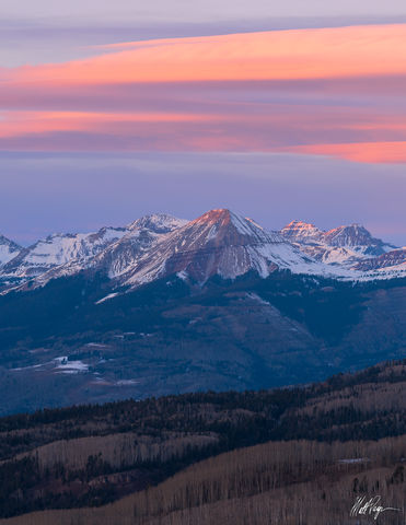Colorado, Durango, Engineer Mountain, Sunset, Winter