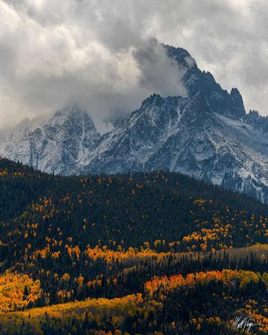 14er, Aspen Trees, Autumn, Blue Spruce, Clouds, Colorado, Drama, Mount Sneffels, Ridgway, Snow, storm, San Juan Mountains