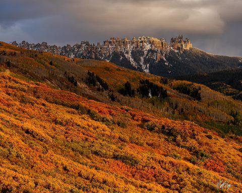 Aspen Trees, Autumn, Cimarron Mountains, Cimarron Ridge, Cliffs, Colorado, Ridgway, Snow, scrub oak, San Juan Mountains
