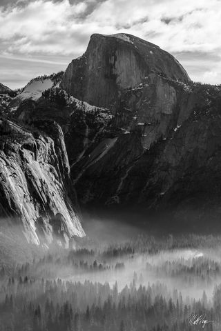 Black and White, Half Dome, Smoke, Yosemite National Park, prescribed burn