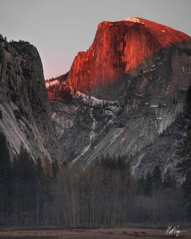 Half Dome, Light, Sunset, Winter, Yosemite National Park, granite, trees