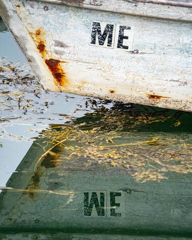 Coast, Dinghy, Inspirational, Maine, Me into We, Message, Motivational, Other Keywords, Reflection, Scenic, Seaweed, Skiff, boat, harbor, reflecting
