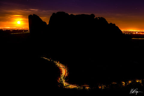 Colorado, Colorado Springs, Full Moon, Garden of the Gods, Kissing Camels, Moon, Moonrise, Night, Nightscape,