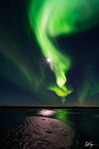 Aurora Borealis, Beach, Iceland, Landscape, Moonstar, Night, Nightscape, Ocean, Reflection