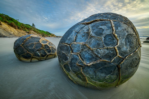 Oceania, New Zealand, Aotearoa, South Island, Otago Coast, Moeraki Boulders, beach, coastline, boulder, rock, geology, nature, landscape