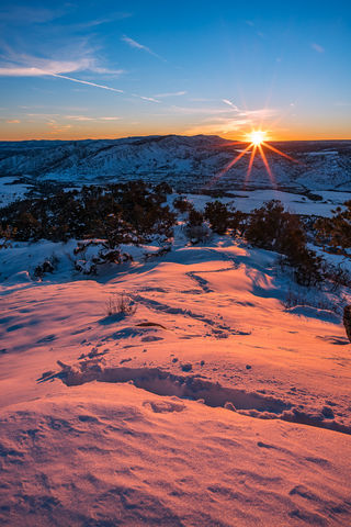 Colorado, Durango, Landscape, Loxia 21, Nighthorse Lake, Orange, Raider Ridge, Snow, Sony A7RII, Sony Artisan, Sunset, Sunstar, Winter