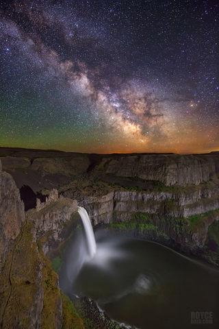 Palouse Falls, Palouse River, Palouse, waterfall, Milky Way, night sky, nightscape, time exposure, starry night, starry night sky, Washington, Washington state