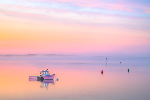 Bailey Island, Clouds, Coast, Colorful, Harspwell, Image, Landscape, Lobster boat, ME, Maine, New England, Ocean, Pastels, Photo, Photograph, Photography, Prints, Reflections, Scenery, Scenic, Sea, Sk