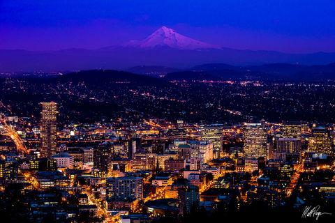 Alpenglow, City, Mount Hood, Night, Oregon, Pittock Mansion, Portland, Skyline, Sunset, lights