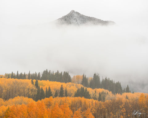 Autumn, Colorado, Fall, Fall Colors, Fog, Landscape, Moody, storm, East Beckwith, mountain, drama, West Elk Mountains
