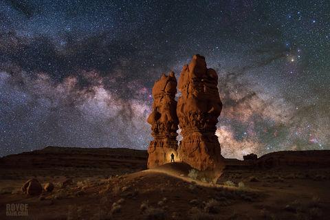 hoodoo, San Rafael Swell, Utah, Sid and Charlie, Sid and Charlie hoodoos, Milky Way, night photography, night sky, nightscape, stars, starry night, starry night sky