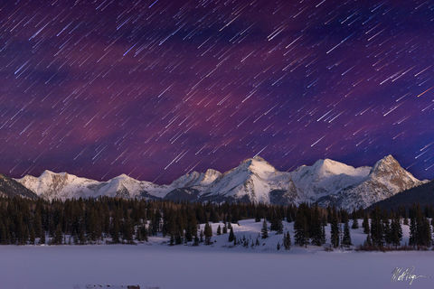 Arrow Peak, Colorado, Durango, Grenadier Range, Landscape, Mountains, Night, Nightscape, San Juan Mountains, Southwest Colorado, Star Trails, Stars, Vestal Peak, Trinities, meteors