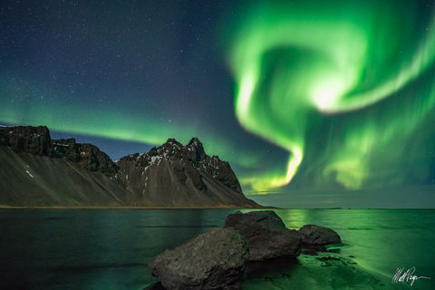 Aurora Borealis, Iceland, Landscape, Mountains, Night, Nightscape, Ocean, Reflection, Snow Capped, Stars, Stokksnes