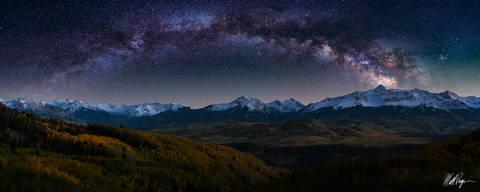 Telluride, Milky Way, 14er, Wilson Peak, Lizard Head Peak, 13ers, autumn, stars, Ice Lake Basin, Panoramic, Last Dollar Road, Colorado