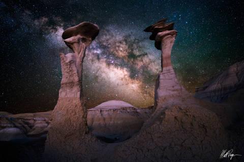 Astro-landscape, Bisti / De-Na-Zin Wilderness, Bisti Badlands, De-Na-Zin Wilderness, Galactic Center, Galaxy, Geology, Hoodoo, Landscape, Milky Way, New Mexico, Night, Nightscape