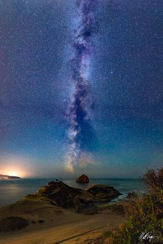 Cape Kiwanda, Coast, Darkness, Haystack Rock, Landscape, Lincoln City, Milky Way, Night, Nightscape, Ocean, Oregon, Pacific City, Pacific Northwest, Stars, bioluminescent algae, shore, stars