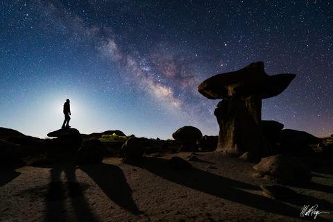 April, Bisti Badlands, De-Na-Zin Wilderness, Hoodoo, Milky Way, New Mexico, Night, Nightscape, Stars, The Pedestal, Wilderness, desert