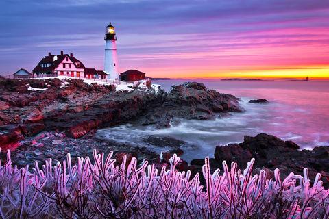 Cape Elizabeth, Cold, Colors, Dawn, Frozen, Ice, Landscape, Lighthouse, Maine, Morning, New England, Ocean, Portland Head Light, Snow, Sunrise, Winter