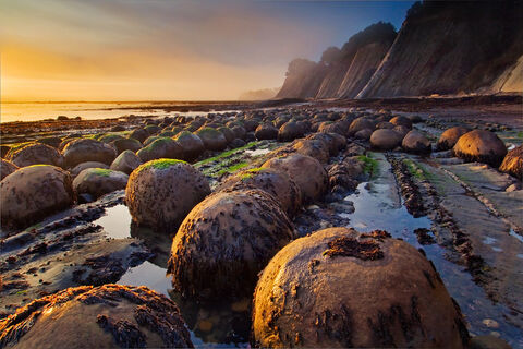 Sunset light on geological concretions at Bowling Ball Beach