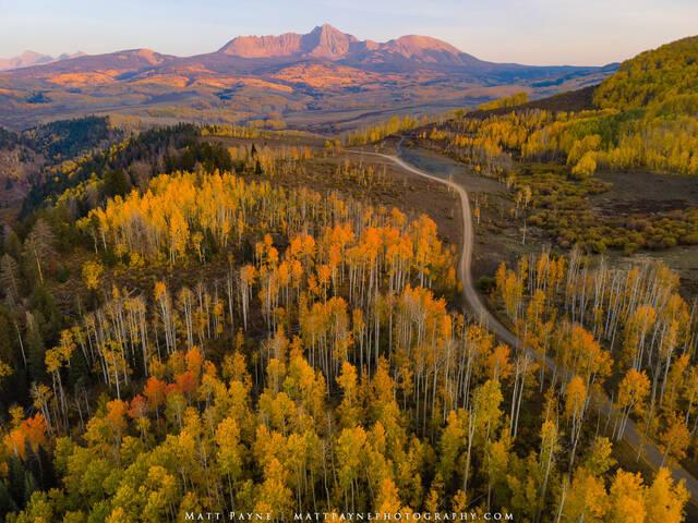 Aspen Trees, Autumn, Colorado, Fall, Fall Colors, Foliage, Landscape, Mountains, San Juan Mountains, Sunset, colorful, landscape photography, road