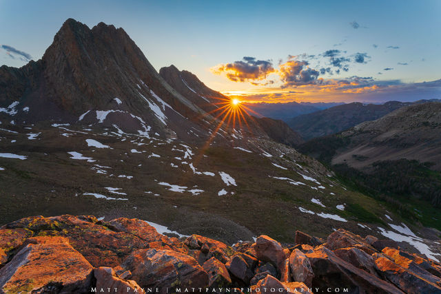 Arrow Peak, Backpacking, Climbing, Colorado, Durango, Grenadier Range, Landscape, Mountains, San Juan Mountains, Sunset, Sunstar, Vestal Basin, Vestal Peak, Weminuche Wilderness Area, West Trinity Pea