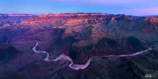Alpenglow, Arizona, Colorado River, Grand Canyon National Park, Panorama, Panoramic, Sunrise, layers
