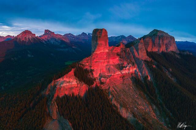 Colorado, San Juan Mountains, Cimarron Mountains, unique, Chimney Rock, peaks, Ridgway, Courthouse Mountain, Coxcomb Peak, Precipice Peak, Dunisinane Mountain, Sunset, glow