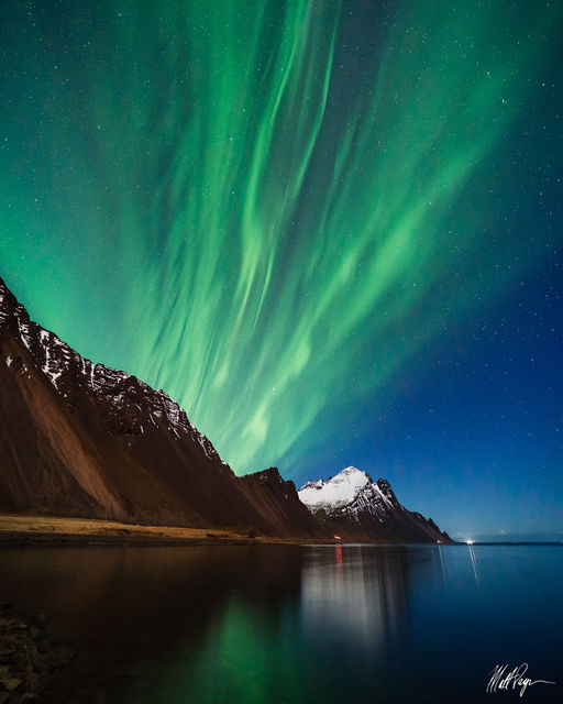Aurora Borealis, Iceland, Landscape, Mountains, Night, Nightscape, Ocean, Reflection, Hofn