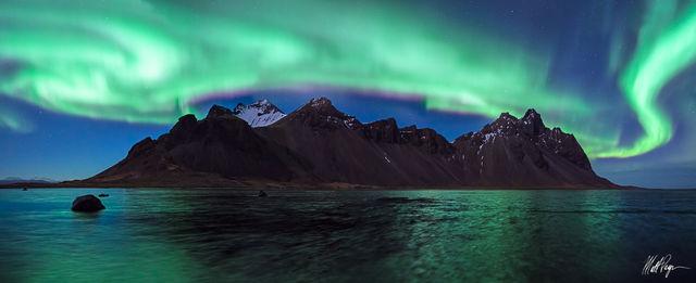 Aurora Borealis, Beach, Iceland, Landscape, Mountains, Night, Nightscape, Reflection, Stars, Vestrahorn, beautiful, Stokksnes