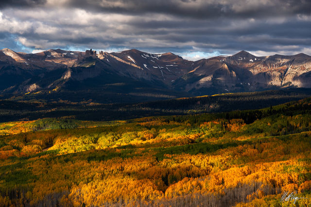 Aspen Trees, Autumn, Clouds, Colorado, Fall Colors, Landscape, Mountains, Crested Butte, West Elk Peak, dappled, West Elk Mountains