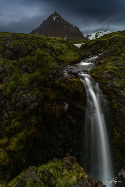 Green, Iceland, Landscape, Long Exposure, Moody, Mountains, Snaefellsnes Peninsula, Spring, Water, Waterfall, beautiful, zen