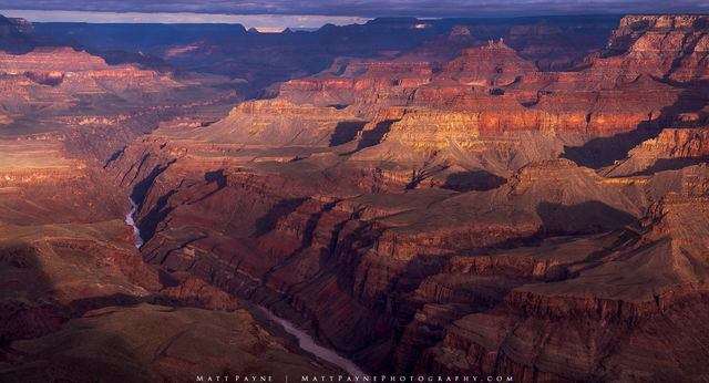 Colorado River, Grand Canyon National Park, Panorama, Sunrise, early light, layers