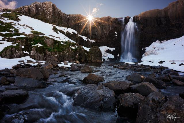 Gufufoss, Iceland, Landscape, Seyðisfjörður, Sunstar, Waterfall, steam, rock, vapor