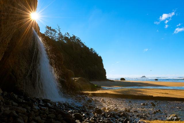 Beach, Coast, Hug Point State Park, Landscape, Ocean, Oregon, Sun, Sunstar, Water, Waterfall, rocks
