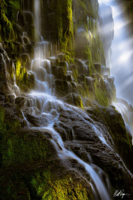Beams, Light, waterfall, misty, water, central oregon