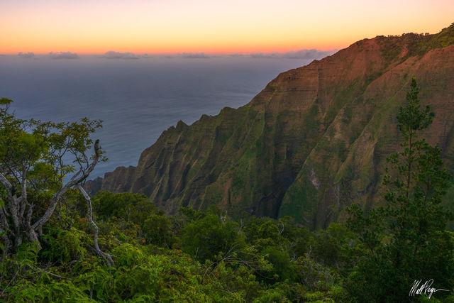 Clouds, Hawaii, Hike, Honopu Trail, Honopu Valley, Jungle, Kauai, Kelepa Ridge, Kokee State Park, Na Pali Coast, Sunset