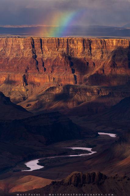 Arizona, Colorado River, Grand Canyon, Landscape, Rainbow, River, Sunset, desert