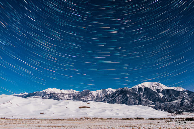 Great Sand Dunes National Park, Star Trails, Mountains, Night, Sangre de Cristo, Stars, Colorado, desert