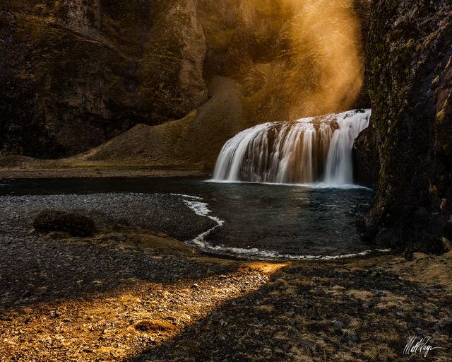 Golden, Iceland, Light, Stjórnarfoss, Water, Waterfall, afternoon, mist, cliff