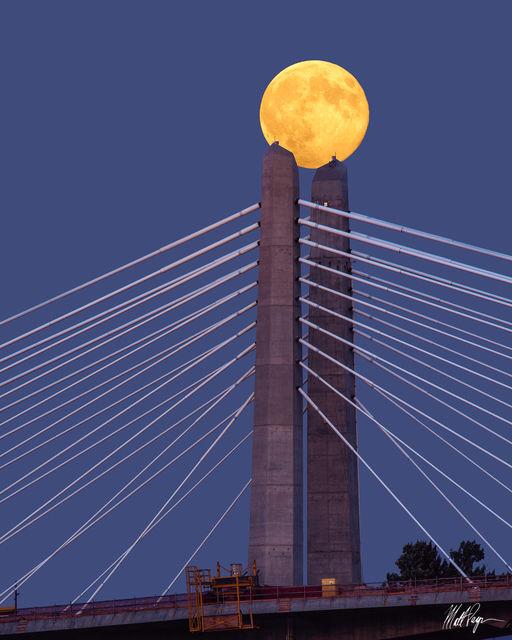 Blue Hour, Bridge, Marquam Bridge, Moon, Oregon, Portland, Supermoon, Telephoto, Tilikum Crossing