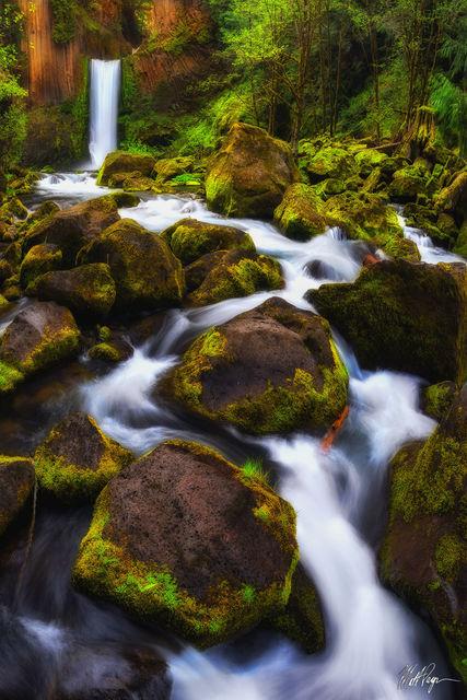 Glow, Green, Landscape, Long Exposure, Moss, Nature, North Umpqua River, Oregon, Pacific Northwest, Rocks, Roseburg, Sunrise, Toketee Falls, Water, Waterfall, Vertical