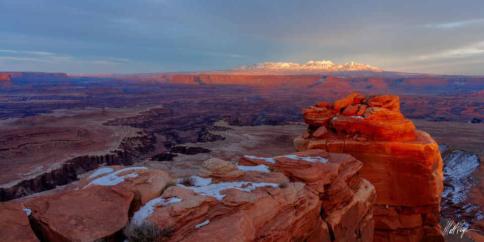 Canyonlands, Canyonlands National Park, Canyons, Gooseberry Canyon, Grand Scenic, Island in the Sky, La Sal Mountains, Mountains, Panorama, Snow, Sunset, Utah, Winter, desert