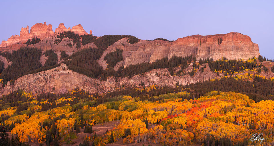 Alpenglow, Aspen Trees, Autumn, Blue Hour, Colorado, Crested Butte, Fall Colors, Gunnison, Mountains, Ohio Pass, Panorama, Panoramic, Sunrise, The Castles, West Elk Mountains