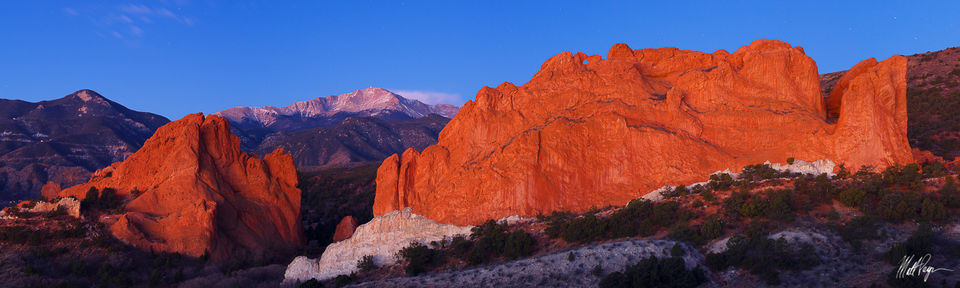 Colorado, Colorado Springs, Garden of the Gods, Landscape, Panorama, stars, Pikes Peak, Kissing Camels